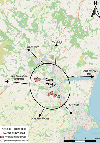 A map indicating the Heart of Teignbridge area