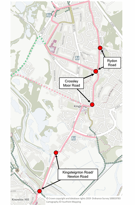 A map indicating the Kingsteignton routes
