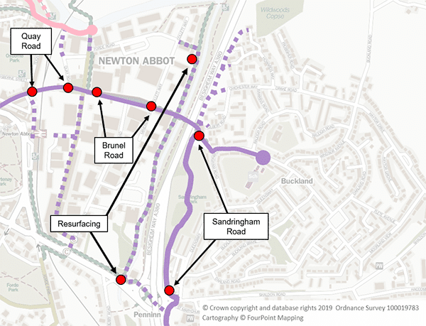 A map of the Buckland and Milber areas of Newton Abbot