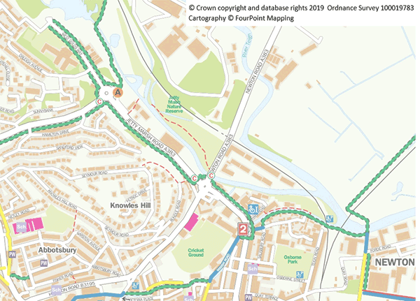 The Stover Trail indicated on a map