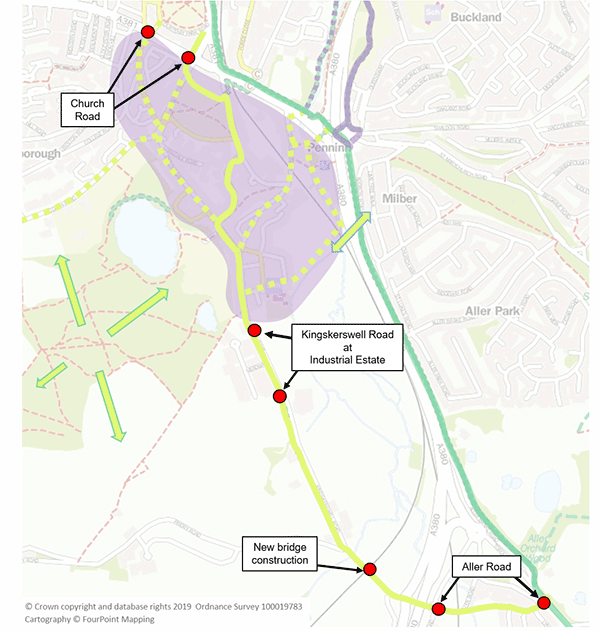A mao indicating routes in the Wolborough area of Newton Abbot
