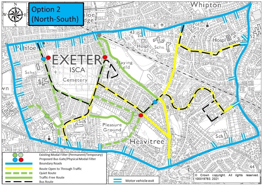 2. Map of Option 2, showing modal filters on Ladysmith Road, St Marks Avenue, Hamlin Lane and Whipton Lane (2 filters)