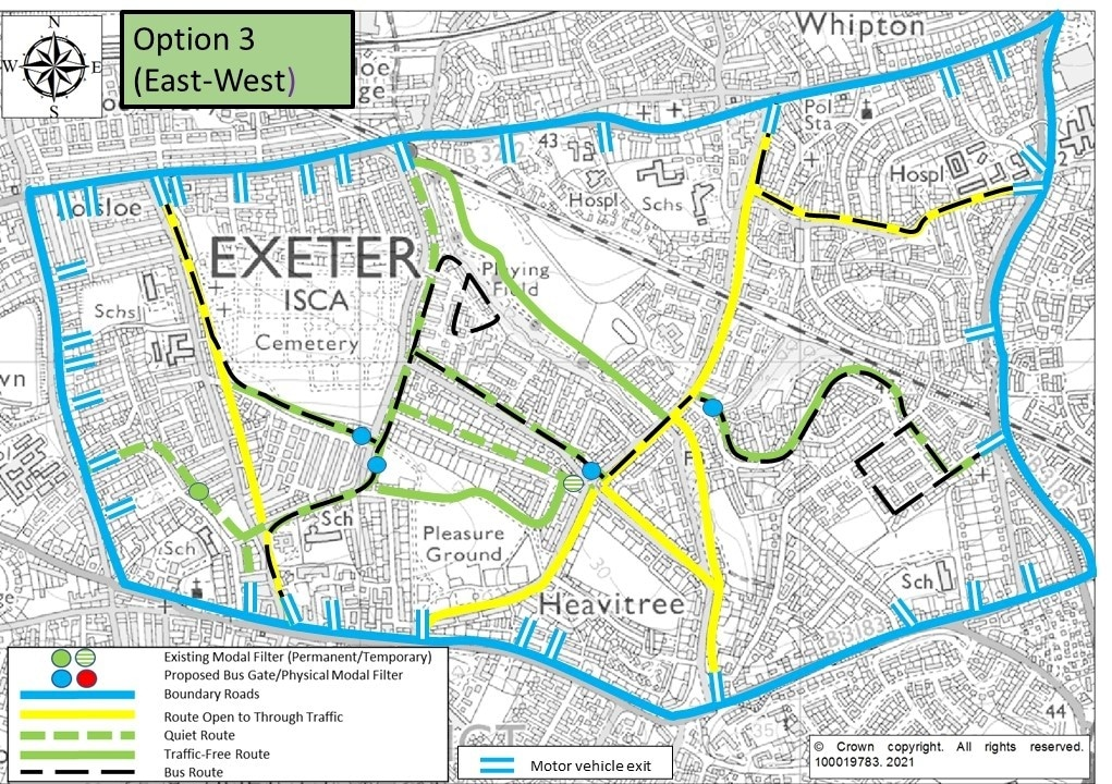 3. Map of Option 3, showing modal filters on Hanover Road, Hamlin Lane, Sweetbrier Lane and Thornpark Rise