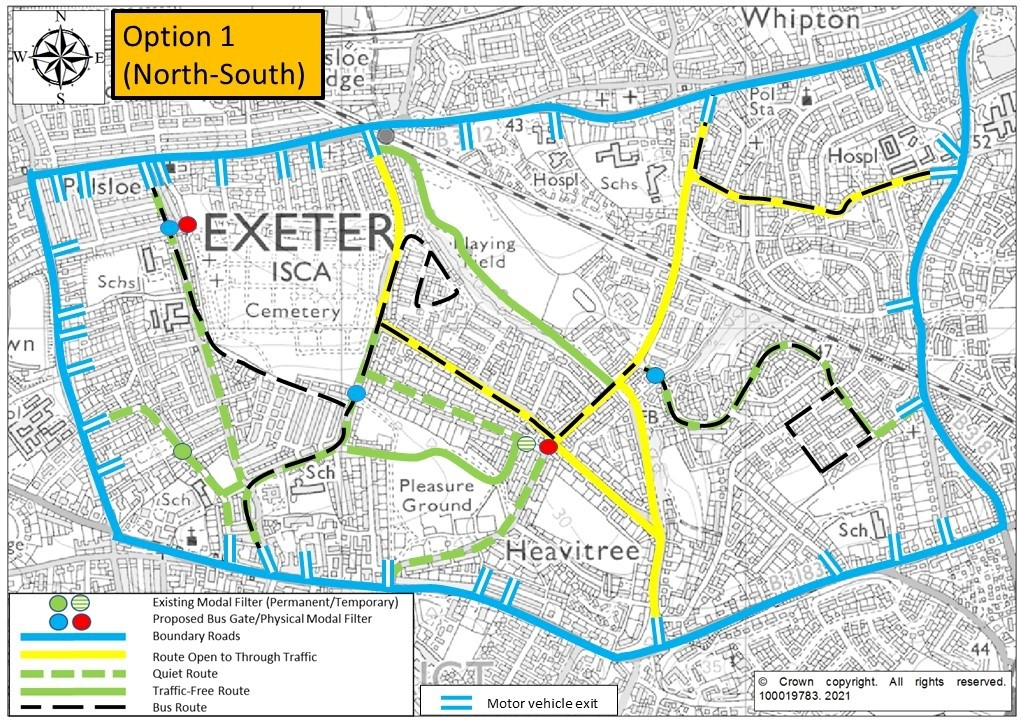 1. Map of Option 1, showing modal filters on Ladysmith Road, St Marks Avenue, Hamlin Lane, Whipton Lane and Thornpark Rise