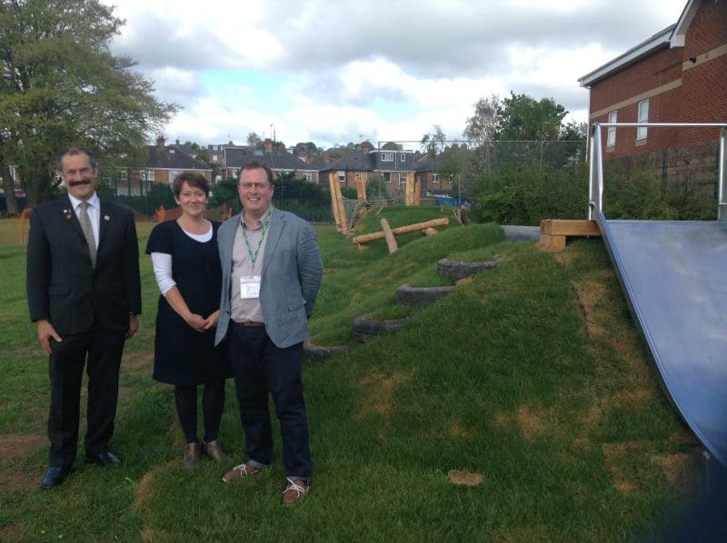 Left to right , Cllr Percy Prowse Trustee, Sarah Vickery of the Montgomery School & Wynstream Primary School Federation, and Cllr Rob Hannaford Chair Heles Educational Trust, with the improved and new play equipment at Montgomery School, St Thomas.
