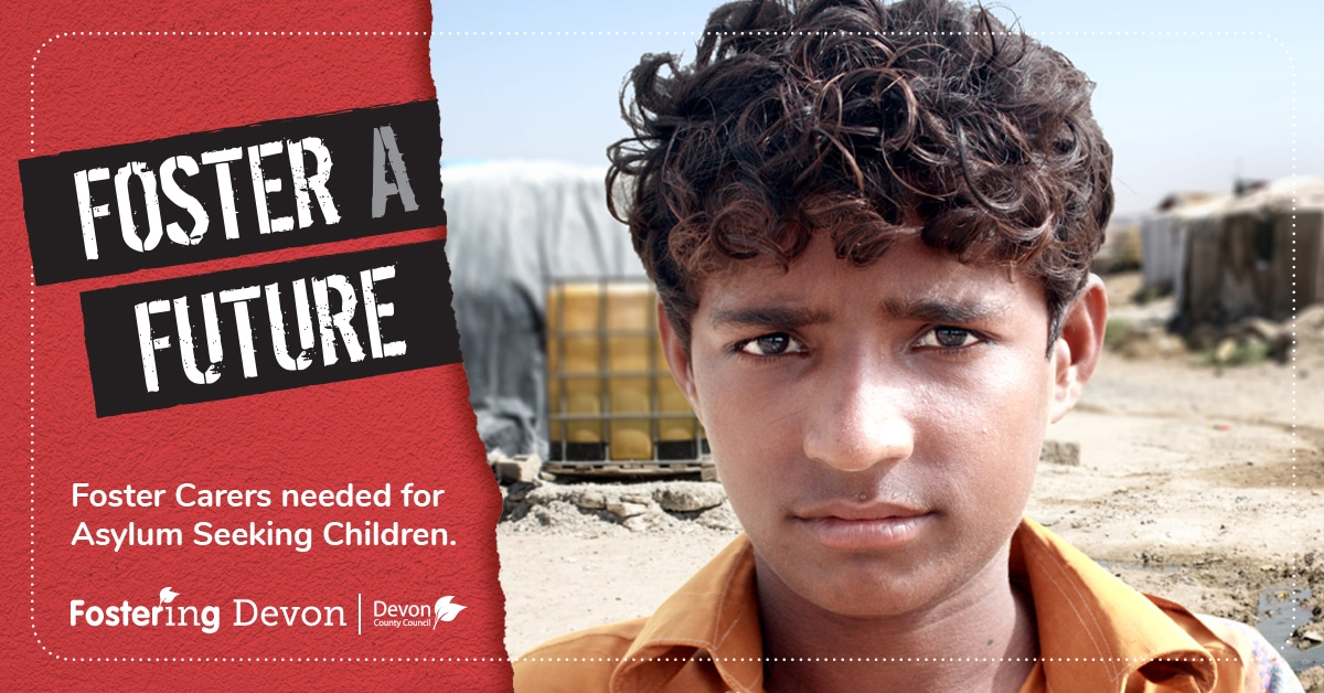 teenage boy with a refugee camp in the background and the words Foster a Future, foster carers needed for asylum seeking children
