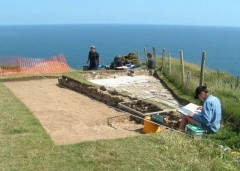 French Revolutionary and Napoleonic War artillery battery under excavation at Beer Head, East Devon. Photo: Devon County Council.