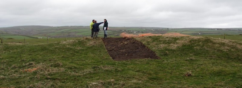A windy start to the rampart excavation at Embury Beacon! Photograph: Stephanie Knight.