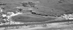 The golf links visible between minefield and anti-glider obstructions on Northam Burrows, with the vehicles of holiday makers in the foreground. RAF/543/1017 PSFO-0122 SS4330/2 10-AUG-1960. English Heritage. RAF Photography.