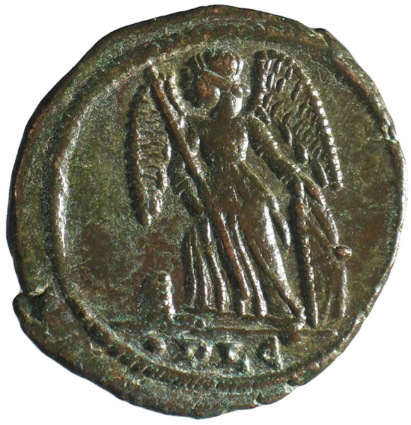 The millionth object recorded on the PAS database: a copper alloy coin struck by Constantine I to celebrate his new city of Constantinople (Istanbul), struck at Lyon in AD 332. The reverse shows Victory on a prow. © The Trustees of the British Museum