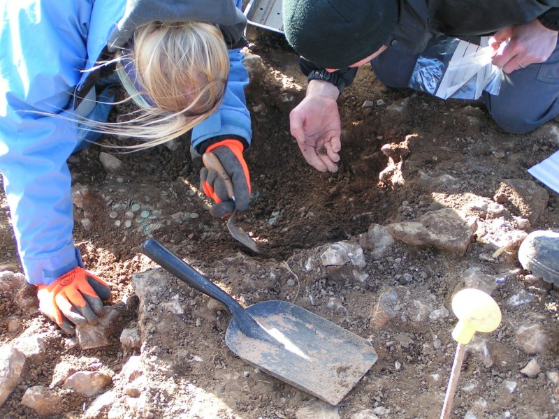 The coin hoard being excavated