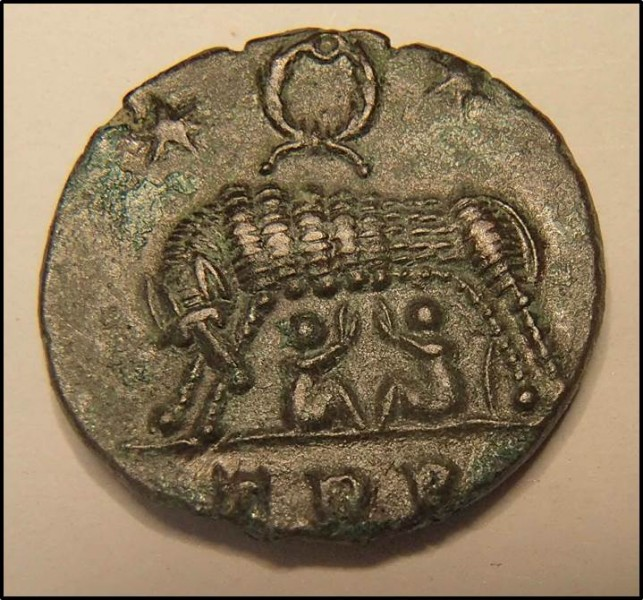 Coin struck in AD 330's to celebrate the city of Rome. © The Trustees of the British Museum