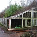 Bicton College. Ruinous glasshouses running against north wall of walled garden, prior to recording and demolition (looking WNW, 2 x 1m scales). Copyright COAS Ltd.