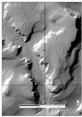 A lidar visualisation showing low field boundary banks on a plateau of higher ground.
