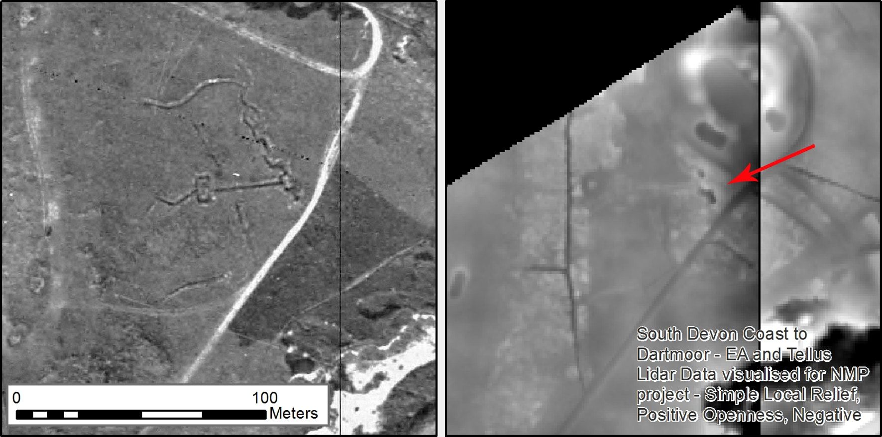 Black and white aerial imagery of crenelated earthwork ditches on open ground. They are much more clearly defined on the aerial photographs taken in 1946 than on the modern lidar visualisations.
