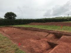 A ground shot of an archaeological trench that has been stripped of topsoil, within which excavated segments of a buried ditch are visible.