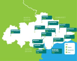 Map of Devon showing Hospicare locations