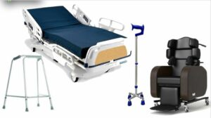 a walking frame, adjustable bed and reclining armchair