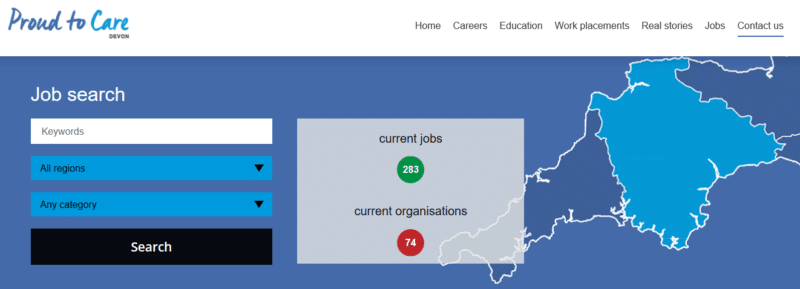 Proud to Care website screen-shot of job search page view