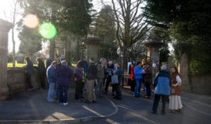 Community gathering to take part in a performance in the Heavitree Squilometre