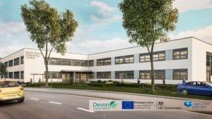 Computer image of North Devon Enterprise Centre including partner logos