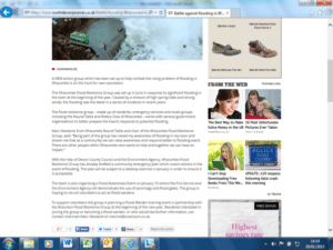 Screenshot showing Press release issued by Ilfracombe Flood Resilience Group in December 2014