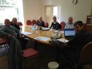 Photo of training in a office with Ottery St Mary Flood Group