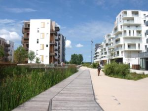 Photo showing surface water drainage management system for this development in Bordeaux