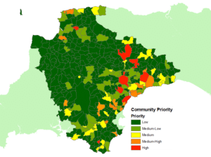 Example output from Devon County Council's GIS flood risk analysis tool