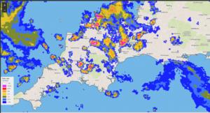 Rainfall radar for Barnstaple 17th August 2020