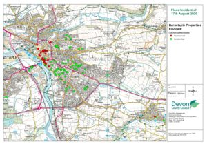 A map showing location of flooded properties in Barnstaple