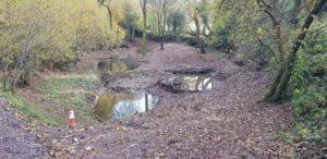 A photo of attenuation storage ponds
