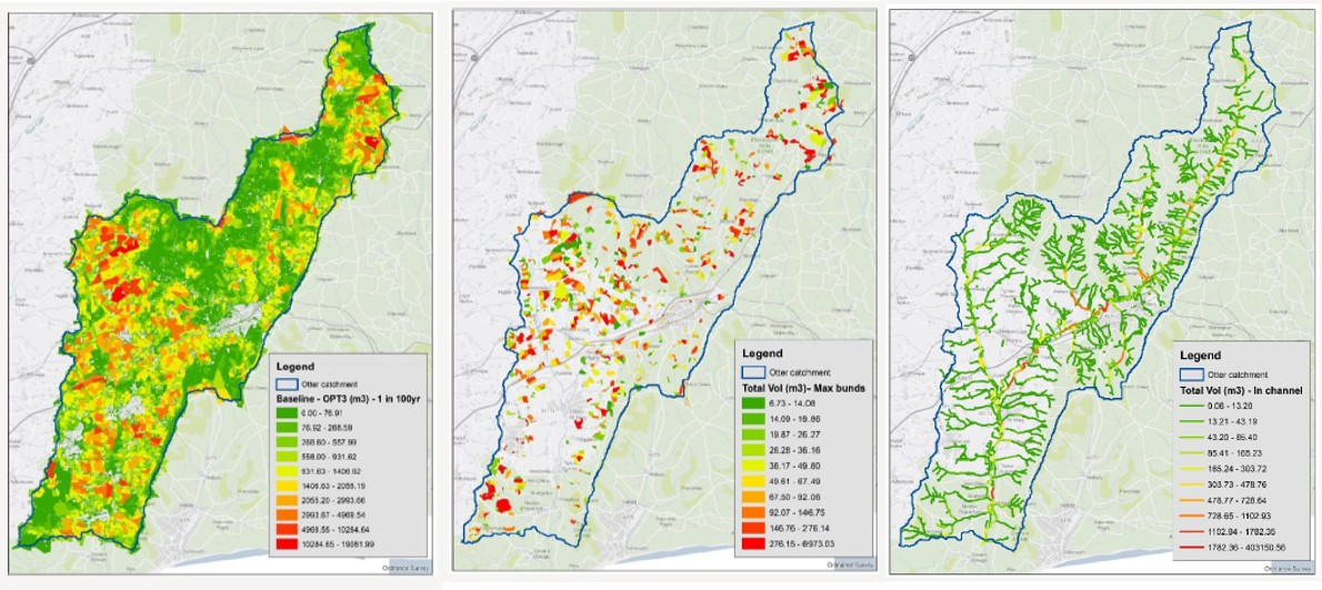 Example maps from the resilient catchment tool.
