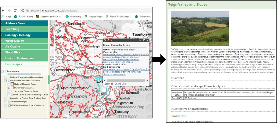 A diagram showing how to find out information from the Devon County Council Environment Viewer