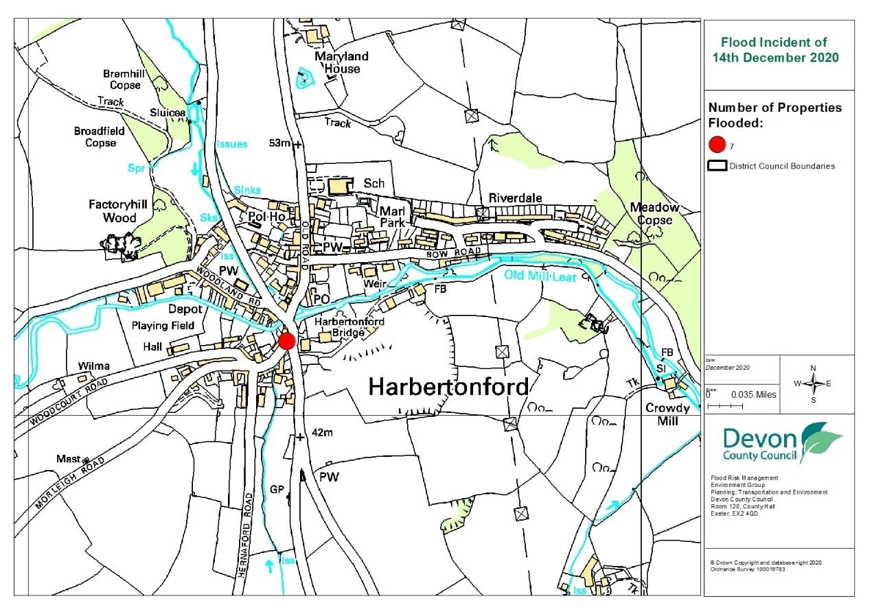 A map of Harbertonford showing the approximate location of the properties which flooded
