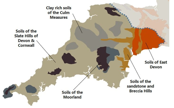 A map of Devon and Cornwall showing the areas of different sol types.