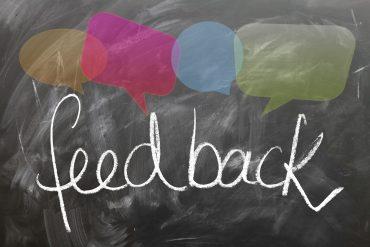 Image of the word 'feedback' written on a blackboard