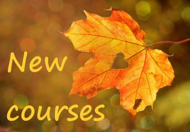 "Image of a yellow leaf with the wording ""New courses"""