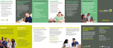 Gallery of images taken from a Learn Devon brochure showing people and text