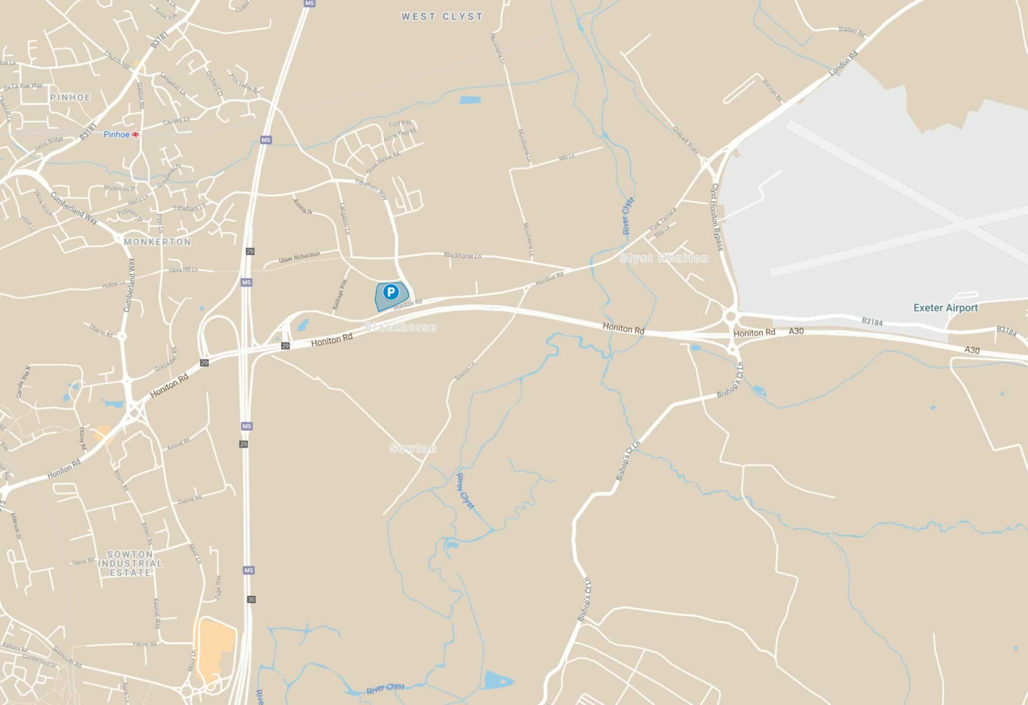 Map showing the park and change location, just north of Honiton Road