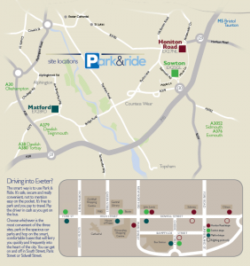 Map showing the locations served by the Stagecoach park and ride services