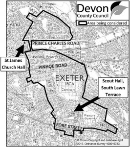 Map indicating the area of Heavitree, Polsloe and Elizabeth avenue being considered for residents' parking