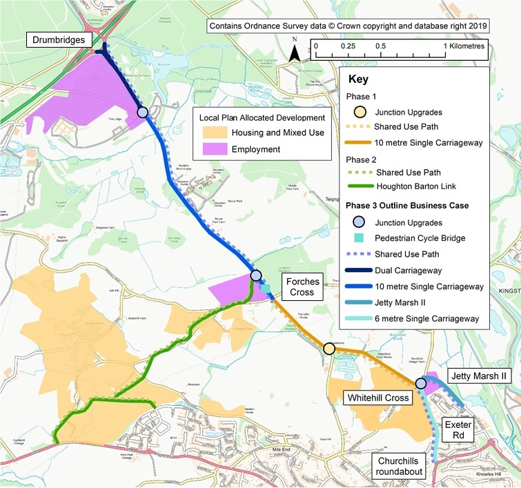 Map showing roads affected by A382 corridor improvements