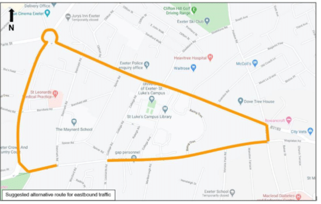 Map showing suggestion Magdalen Road diversion route for eastbound traffic