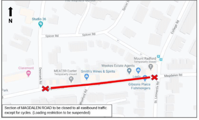 Map showing the extent of the Magdalen Road one-way closure