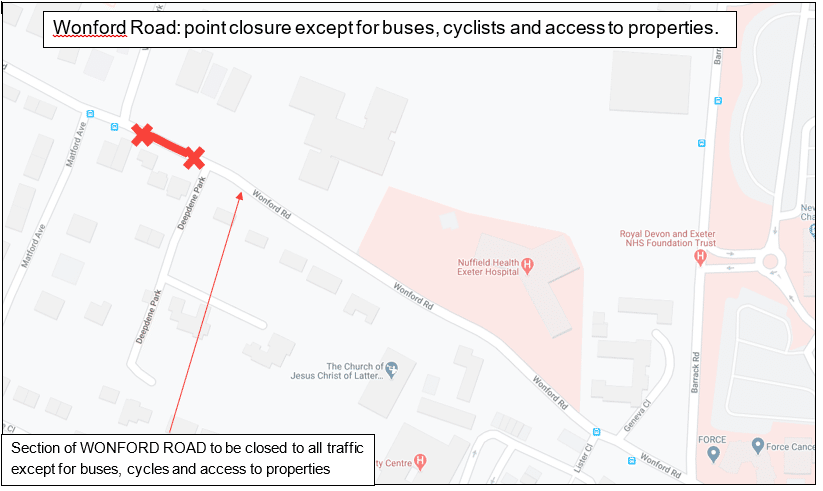 Map showing the Wonford Road point closure