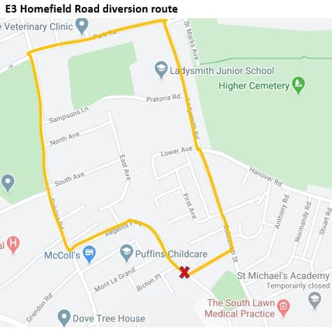 Map showing the diversion route for Homefield Road point closure