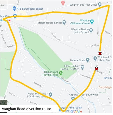 Map showing the suggested diversion road for Vaughan Road point closure