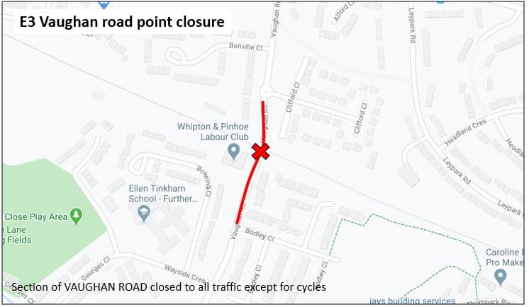 Map showing the extent of the point closure on Vaughan Road