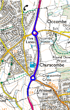 Map showing a section of A380 treated by Torbay Council
